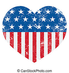 USA America retro heart flag - vect - American vintage old...