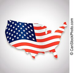 usa america silk flag flying in map symbol vector