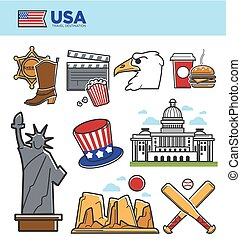 USA America travel landmarks symbols and American culture tourist attraction icons set
