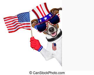 usa american dog - pride american dog waving us flag behind...