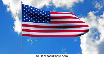 USA American Flag. Alpha matte - Waving in the wind USA...