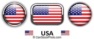 USA, American flag buttons