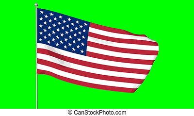 USA American Flag. Cromakey - Waving in the wind cartoon US...