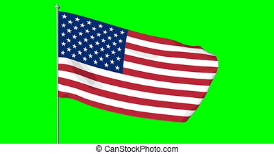 USA American Flag. Cromakey - Waving in the wind cartoon US...