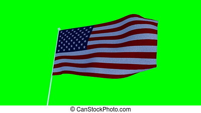 USA American Flag. Cromakey - Waving in the wind US flag....
