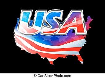 USA American flag on black background