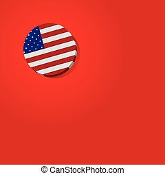 Usa American flag on red background