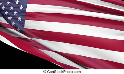 USA American Flag Transition Close up. 3D render of National flag of the United States of America. Suitable for news, July 4 Independence Day, politics show, Presidents Day. With Alpha Channel.