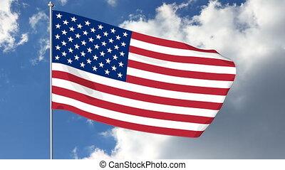 USA American Flag - Waving in the wind cartoon USA flag. 3D...
