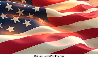 usa american flag waving on wind