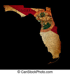 USA American Florida state map outline with grunge ef fect flag insert and Declaration of Independence overlay