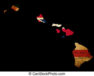 USA American Hawaii state map outline with grunge effect flag insert and Declaration of Independence overlay