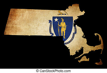 USA American Massachussetts state map outline with grunge effect flag insert