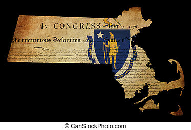 USA American Massachussetts state map outline with grunge effect flag insert and Declaration of Independence overlay
