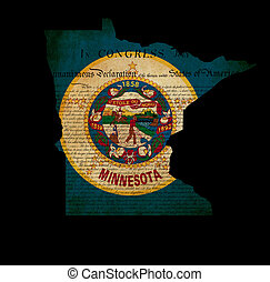 USA American Minnesota state map outline with grunge effect flag insert and Declaration of Independence overlay