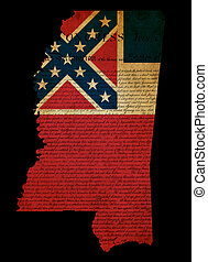 USA American Mississippi state map outline with grunge effect flag insert and Declaration of Independence overlay