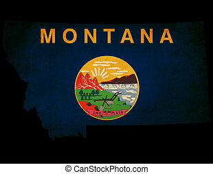 USA American Montana State Map outline with grunge effect flag