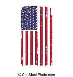 USA American National Flag in disstressed style. Vintage design. Perfect for T-Shirt, poster, cards. America symbol. Stock vector illustration isolated on white background
