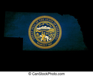 USA American Nebraska State Map outline with grunge effect flag