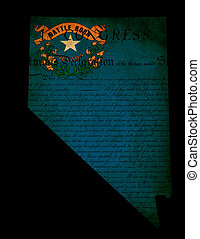 USA American Nevada state map outline with grunge effect flag insert and Declaration of Independence overlay