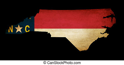USA American North Carolina state map outline with grunge effect flag insert