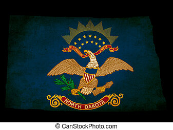 USA American North Dakota state map outline with grunge effect flag insert