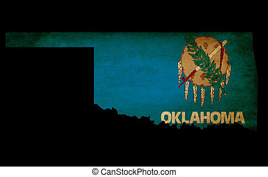 USA American Oklahoma State Map outline with grunge effect flag