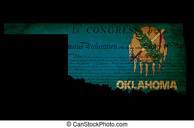 USA American Oklahoma state map outline with grunge effect flag insert and Declaration of Independence overlay