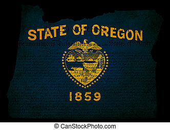 USA American Oregon state map outline with grunge effect flag insert and Declaration of Independence overlay