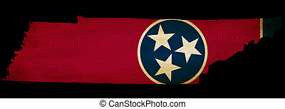 USA American Tennessee state map outline with grunge effect flag insert
