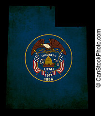 USA American Utah State Map outline with grunge effect flag...