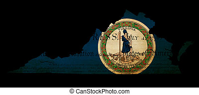 USA American Virginia state map outline with grunge effect flag insert and Declaration of Independence overlay