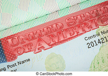 USA American visa texture background for travel concept