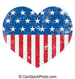 usa, amerika, retro, hart, vlag, -, vect
