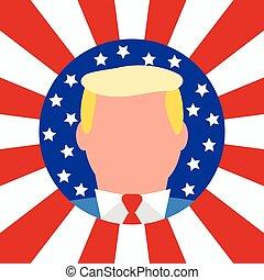usa, amerikaan, achtergrond., vlag, president., nieuw