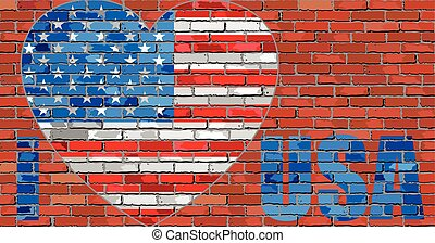usa', amour, message, 'i, mur, brique