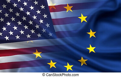 Combined waving flags of USA and EU