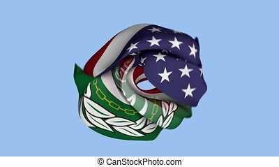 United States Flag. Arab League Flag. North America Flags. Arab Flags. Celebration. Realistic Animation 4K. Surface Texture. Background Fabric.