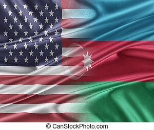 USA and Azerbaijan. Relations between two countries. 3D...