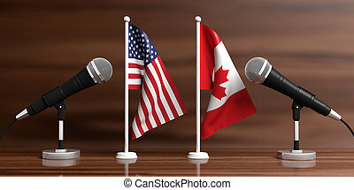 USA and Canada miniature flags. Cable microphones, wooden...