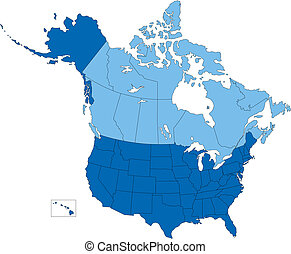 Vector map of United States and Canada broken down by 50 states and Canadian provinces. In blue color