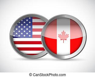 usa and canada union seals illustration design