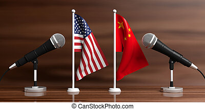 USA and China miniature flags. Cable microphones, wooden...