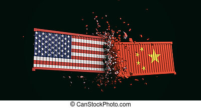 USA and China trade war. US of America and chinese flags...