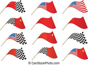 USA and Chinese Flag
