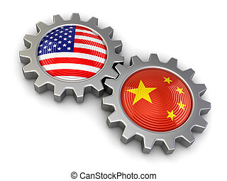 USA and Chinese flags on a gears