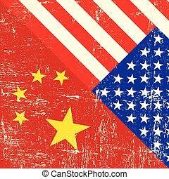 USA and Chinese grunge Flag