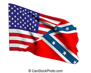 usa and confederate flag - 3d rendering of an united states ...