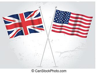 USA and Great Britain flag waving
