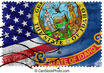 USA and Idaho State Flag - old postage stamp